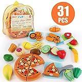 JoyGrow 31 piècesJeu D'imitation Jouet à Couper de Aliments Plastique Fruit Légume Jeu Éducatif Tôt Développement Intellectuel pour Bébé Enfant(Sac à Dos)
