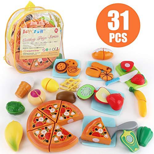 JoyGrow 31PCS Küchenspielzeug Kinder Schneide Lebensmittel Spielzeug Plastik Obst Gemüse Pizza Cutting Toy Kinder Rollenspiele Spielzeug (Rucksack Lagerung)