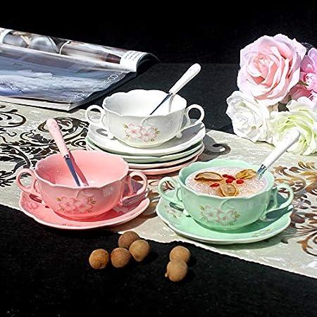 Ybk Tech Petit D/éjeuner Tasse en porcelaine anglaise en c/éramique Dessert bols /à soupe Mug avec soucoupe et cuill/ère rose