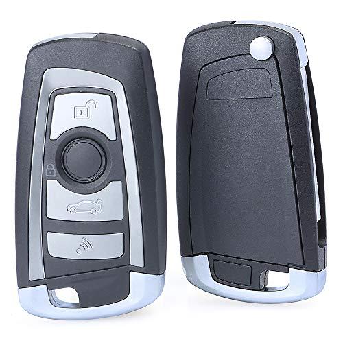 Keymall keyless EWS Modified Flip entry remote car key fob 4 Button 315MHZ with 7935AA ID44 Chip for BMW 330 318 525 530 540 E38 E46 M5 X3 X5 HU92 Blade