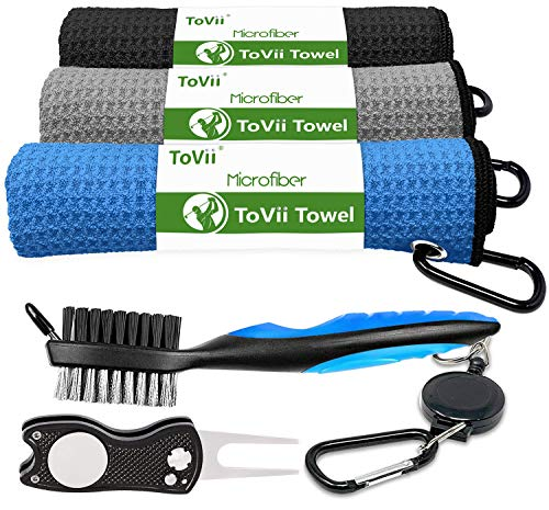 ToVii Golf Towel Microfiber Waffle Pattern Golf Towel | Brush Tool Kit with Club Groove Cleaner | Golf Divot Tool | Golf Accessories for Men
