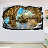DCJ® Pegatina de pared Cliff Malibu Beach Etiqueta de la pared Arte 3D Efecto Calcomanía Mural...