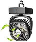 Portable Battery Operated Camping Fan - Outdoor Tent Fan with LED Lantern and Hanging Hook, Rechargeable 5200mAh Battery USB Desk Fan, 140° Auto Oscillation for Home, Office, Emergency Outages