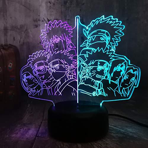 Naruto grupo Hatake Kakashi Uzumaki Naruto Uchiha Sasuke Anime figura de colores surtidos 3D ilusión óptica nocturna escritorio lámpara de mesa juguete niños regalo de cumpleaños