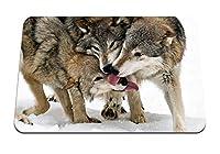 26cmx21cm マウスパッド (オオカミの舌なめる雪3) パターンカスタムの マウスパッド