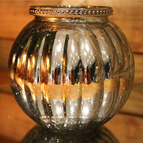 Carousel Home Antique Mercury Effect Ribbed Candle Pot Tealight Holder (Silver, 13x11.5 cm)