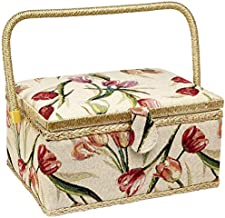 Sewing Basket with Tulip Floral Print Design- Sewing Kit Storage Box with Removable Tray, Built-in Pin Cushion and Interior Pocket - Large - 12