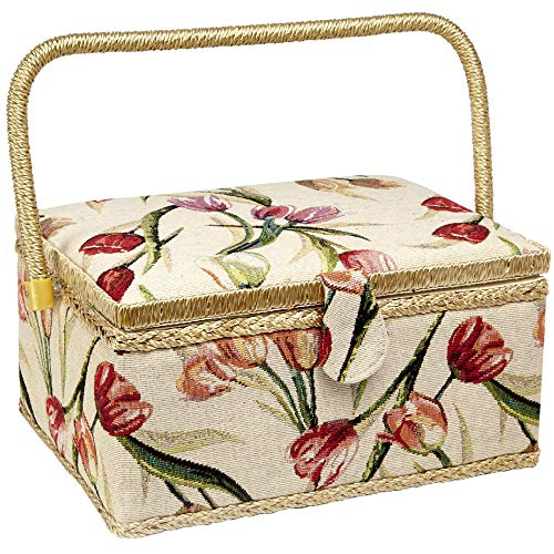 Sewing Basket with Tulip Floral Print Design- Sewing Kit Storage Box with Removable Tray, Built-in Pin Cushion and Interior Pocket - Large - 12' x 9' x 6' - by Adolfo Design