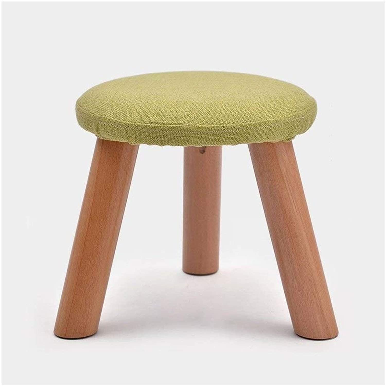 Creative shoes Stool shoes Short Solid Wood Fabric Home Small Round Sofa Coffee Table Stool Feet JINRONG (color   Green)