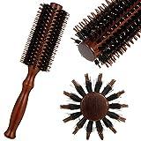 atnight Wildschweinborsten-Rundbürste, Antistatic Roller Hair Comb Runde Haarbürste Holzgriff...
