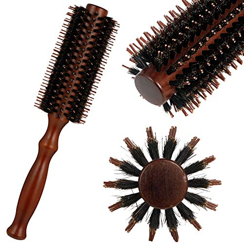 atnight Wildschweinborsten-Rundbürste, Antistatic Roller Hair Comb Runde Haarbürste Holzgriff Stylingbürste Frauen Männer für langes, kurzes, glättendes, lockiges, nasses und trockenes Haar