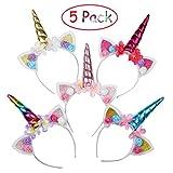 EKKONG Einhorn Haarreif für Kinder, 5 Stück Headband Stirnband Bunt mit Unicorn Horn, Haarschmuck...