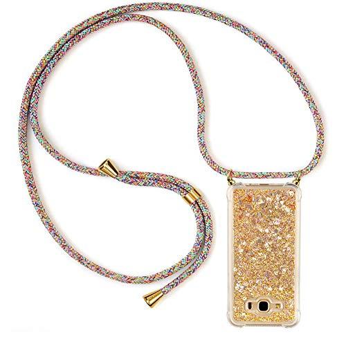 Ptny Case Funda Colgante movil con Cuerda para Colgar Samsung J5 2016 Carcasa Correa Transparente de TPU con Cordon para Llevar en el Cuello con Ajustable Collar Cadena Cordón, Color del Arco IRI