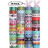 Nastro decorativo Washi Tape, 48 rotoli di nastro adesivo in carta largo 15 mm, per fai-da-te,...
