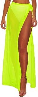 Cubierta de Playa para Mujer Mujeres Transparente Gasa Pareo Beach Wrap Sarong Bikini Traje de baño Bufanda Cubrir para Vacaciones (Color : Amarillo, tamaño : Free Size)