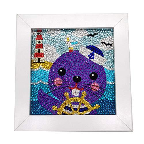 ParNarZar Kleine Und Einfache 5D Diamond Painting Set Kinder Mosaikherstellung Mit WeißEm Rahmen FüR Kinder - 15X15Cm (Eichhörnchen)