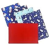 5 x Stoffpakete mit Weihnachtsmotiven, 100 % Baumwolle, zum