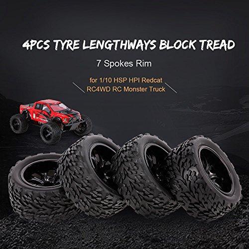 Mobiliarbus 1/10 Offroad-Reifen in Längsrichtung Blockprofil 7-Speichen-Felge für 1/10 HSP HPI Redcat RC4WD RC-Monstertruck, 4 STÜCKE
