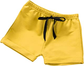 COODIO Kids Boys Girls All Match Solid Color Beach Shorts-Clothes