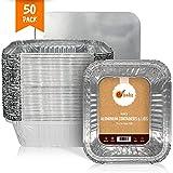 Bandejas de Papel de Aluminio pequeñas con Tapas Contenedores de Papel de Aluminio Desechables para la preparación de Alimentos, Hornear, almacenar y congelar - Paquete de 50