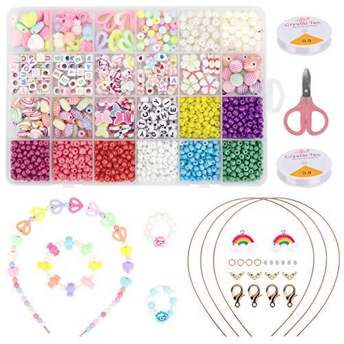 HONEYWHALE Perlen zum Auffädeln Kinder, 1600pcs Kinder Schmuck Schnur Set, Buchstaben Perlenschmuck Schmuckbasteln, Geburtstagsgeschenk für Mädchen, Ketten Basteln 24 Farben