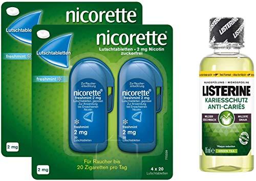 Nicorette Freshmint 2 mg 2 x 80 Lutschtabletten + gratis Listerine Kariesschutz 95 ml