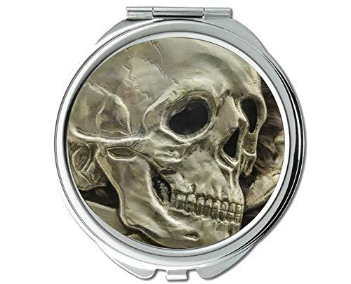 Yanteng Spiegel, Schminkspiegel, Skull Logo Piratenskelett, Taschenspiegel, 1 X 82X Vergrößerung