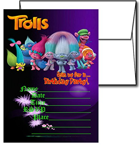 12 TROLLS Birthday Invitation Cards (12 White Envelops Included)