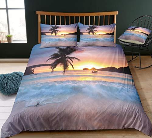Strand und Meer 3D Print Betten Set Kinder Sea Beach Sonnenuntergang Bettwäsche Set Microfaser Modern Stil Tropische Palm Bettbezug mit 1 Kissenbezug 2 teilig 135x200 cm + 80x80 cm Jungen Mädchen