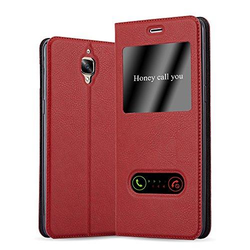 Cadorabo Hülle für OnePlus 3 / 3T in Safran ROT – Handyhülle mit Magnetverschluss, Standfunktion & 2 Sichtfenstern – Hülle Cover Schutzhülle Etui Tasche Book Klapp Style