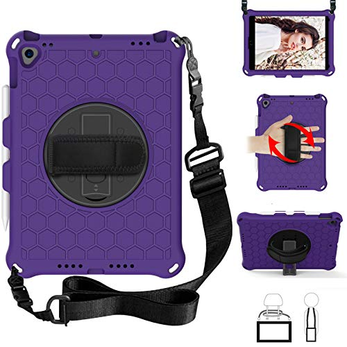 QYiD Kids Case for iPad Pro 9.7, Kids Friendly Light Weight EVA Shockproof Case Rotatable Strap, Pencil Holder & Shoulder Belt for iPad Pro 9.7 2016 Modle: A1674 / A1675 / A1673, Purple/Black