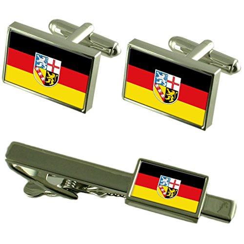 Select Gifts Saarland Fahne und der passenden Krawatten Manschettenknöpfe, Set