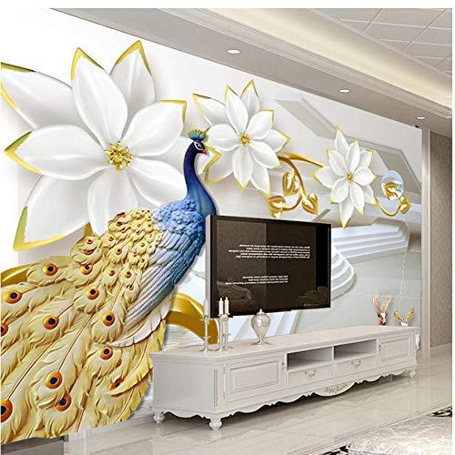 Simulatie pauw-muurschildering behang 3D patroon Home woonkamer slaapkamer kinderkamer club decoratie kunst afneembare sticker papier foto muursticker 150 x 105 cm (b).