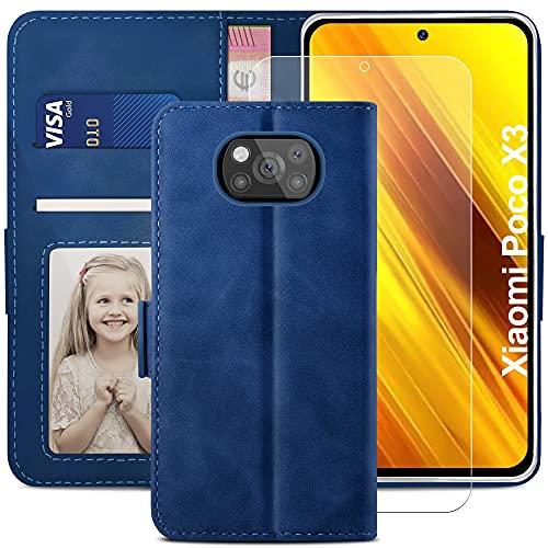 YATWIN Handyhülle Xiaomi Poco X3 NFC Hülle +1 Stück Panzerglas Schutzfolie, Klapphülle Xiaomi Poco X3 Pro Premium Leder Brieftasche Schutzhülle [Kartenfach][Stand] Handytasche Hülle für Poco X3, Blau