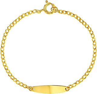 Yellow Gold Flashed 925 Sterling Silver Tag Identification Bracelet Infants 5