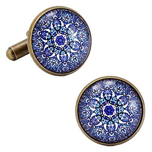 WJCRYPD Gemelos para Hombres Damas Gemelos Dark Blue Glass Gemelos Negocios Casual Hombres Y Gemelos De Mujeres Qf Shop