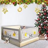 TOPQSC Barrera Cama niño, Barandilla Cama niños Abatible, Anticaidas Infantil, barandilla de la cama para bebés Protectores para cunas y camas de bebé Barrera de cama portátil Tamaño gigante (150cm)