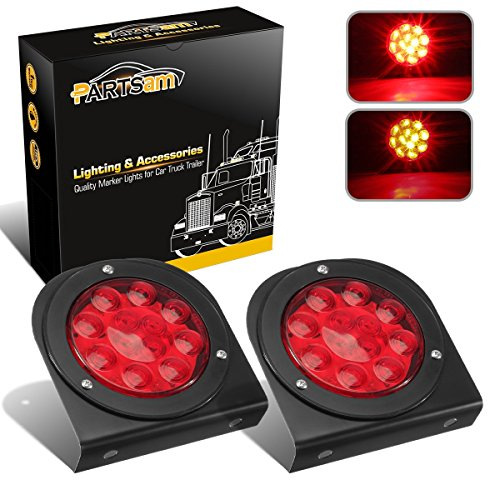 Partsam LED Truck Trailer Tail Lights with Steel Brackets - Waterproof DC12 Red 12-LED Round Tail Light Bar for Stop/Turn/Brake Running Lamps Fits any Camper/RV/Camper/UTV/Boat Trailers(2 PCS)
