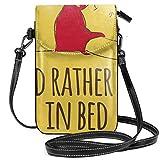 shenguang Bolsos cruzados para mujer - Pooh Rather Be in Bed Billetera pequeña para teléfono celular con ranuras para tarjetas de crédito