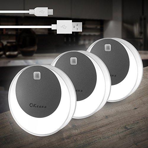 LED Nachtlicht mit Bewegungsmelder, Okeanu USB Aufladbare Nachtlampe LED Lichter, Auto ON/OFF mit Lichtsensor,Wand- oder Schrankbeleuchtung, Überall Haftend(3 Pack, weißes)