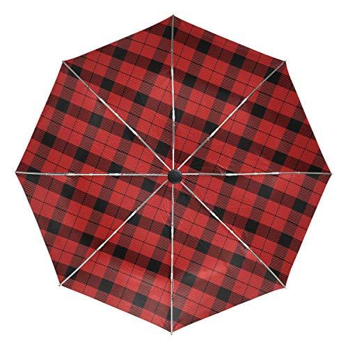 Redecor - Paraguas para Coche, diseño de Cuadros Escoceses Rojos y Ne