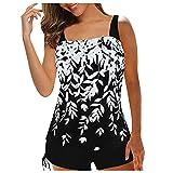 Bikini para mujer, bikini de dos piezas, sexy, de tamaño grande, estampado digital, con diseño de rayas blanco XXL