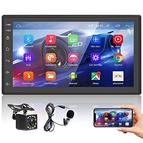 Podofo Autoradio Bluetooth Stereo Auto 2 Din Con Schermo 7 Pollici 1080P Android Stereo Con Vivavoce Microfono Integrato Radio Auto Radio Macchina Touch Screen Con Navigatore FM USB BT MP5 WiFi