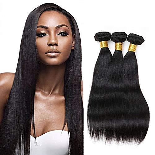 Brasilianisches glattes Haar 3 Bündel 14 16 18 Zoll 100% rohe unverarbeitete Echthaarverlängerungen Doppelter Schuss Seidige gerade Webart Echthaarbündel reines Haar natürliche Farbe