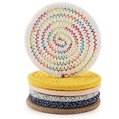 Accmor Braided Coasters for Drinks 6 Pcs Handmade Absorbent Cotton Round Cup Coasters Fabric Hot Pads Mats for Kitchen Dining Table Desk Protection