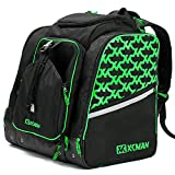 XCMAN Ski Snowboard Boot Backpack Bag, Excellent for Travel with Waterproof Exterior & Bottom,Green