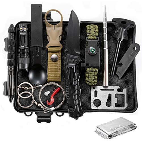 Survival Kit 12 in 1,Gifts for Men Dad Husband Fathers Day,Fishing Hunting Birthday Gifts Ideas for Him Boyfriend Teen Boy, Cool Gadget Stocking Stuffer, Survival Gear, Emergency Camping Gear