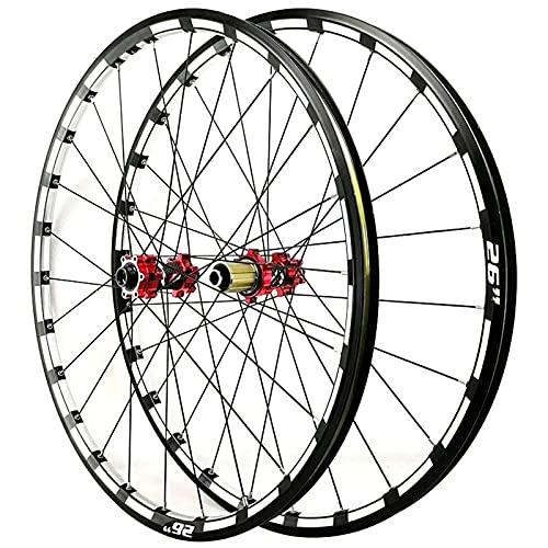 Llanta de bicicleta 26 27.5 BICICLETE Wheelset Thru Eje de freno de freno de la rueda de la bicicleta de la bicicleta de la bicicleta delantera trasera de la pared de la pared del borde de 24 orificio
