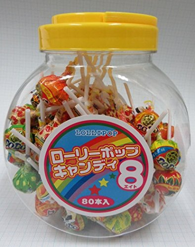 やおきん ローリーポップキャンディ8 (1ポット80本入り)+菓道の珍味1枚付き