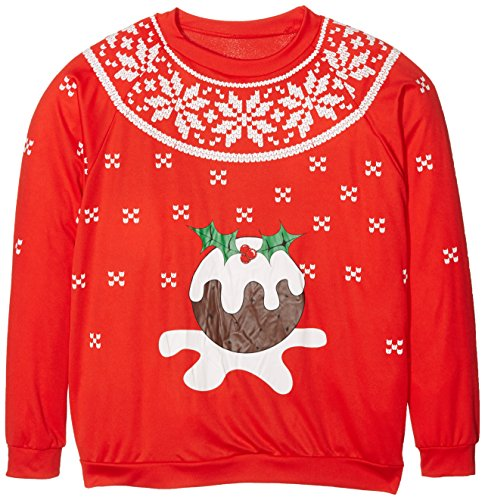 Smiffys - Sweet-Shirt Christmas Pudding Lumineux Rouge Taille L